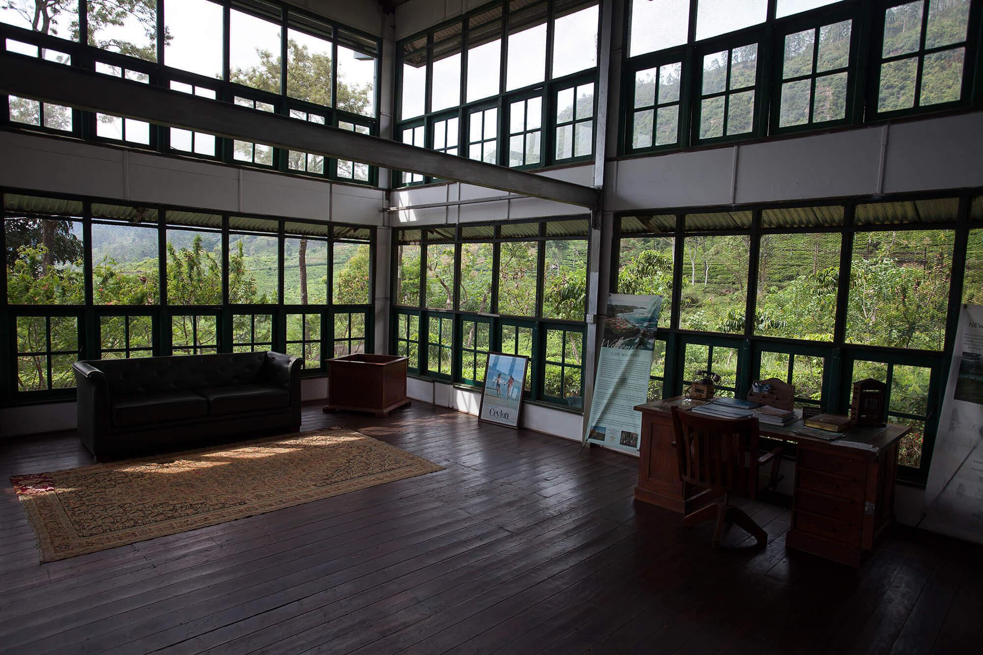 Lobby na plantacji herbacianej na Sri Lance w Dunkeld Tea Estate