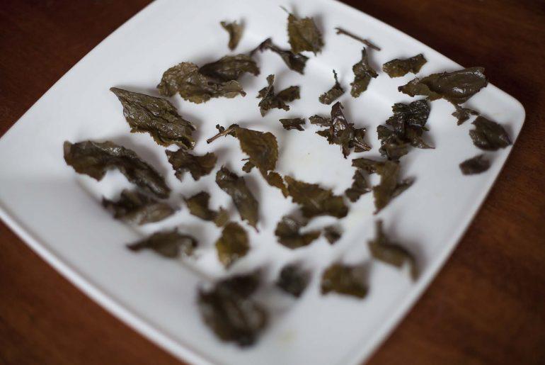 Liście herbaty po parzeniu