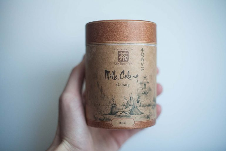 Opakowanie herbaty milk oolong, mlecznego oolonga od frontu