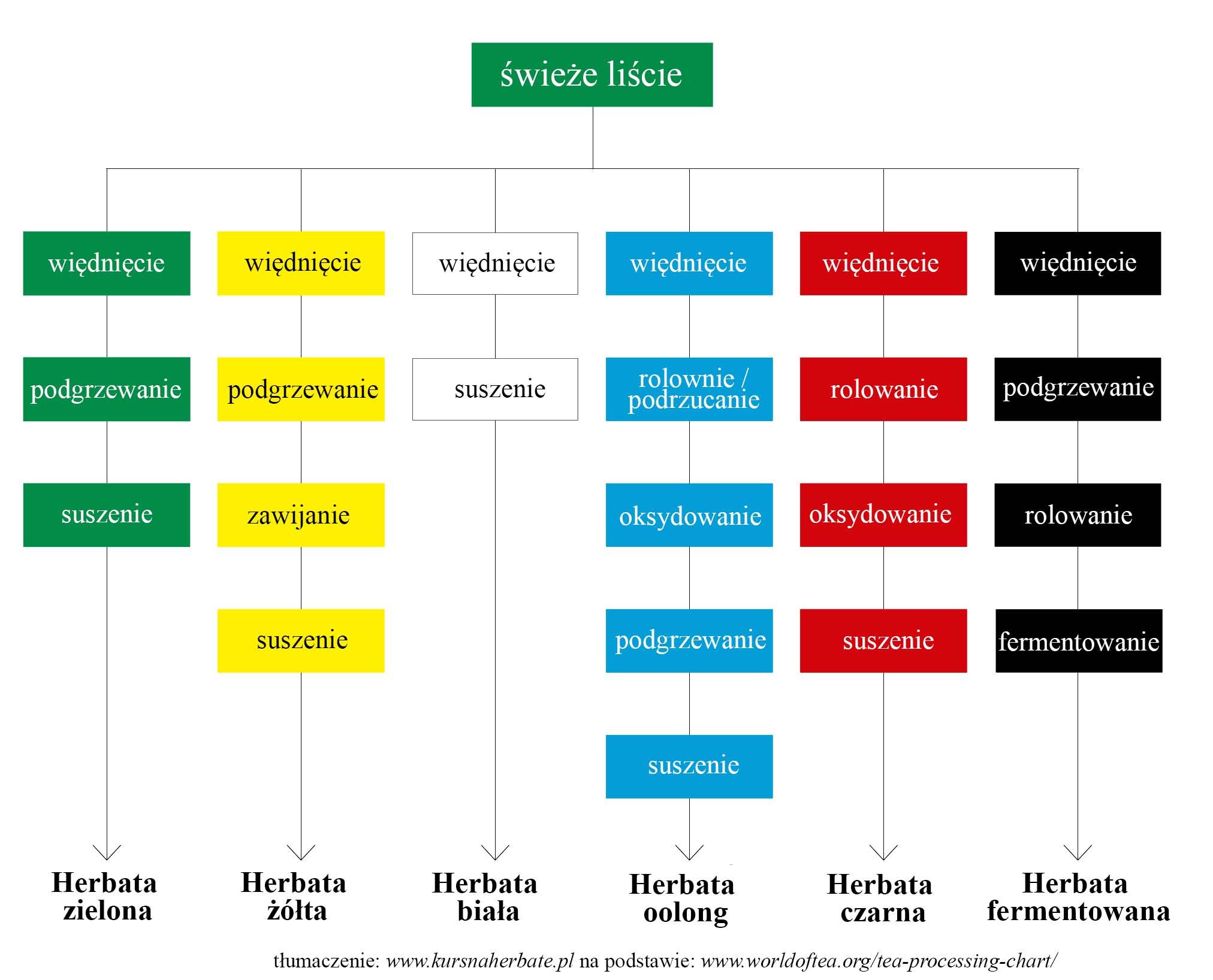 wykres procesu produkcji herbaty
